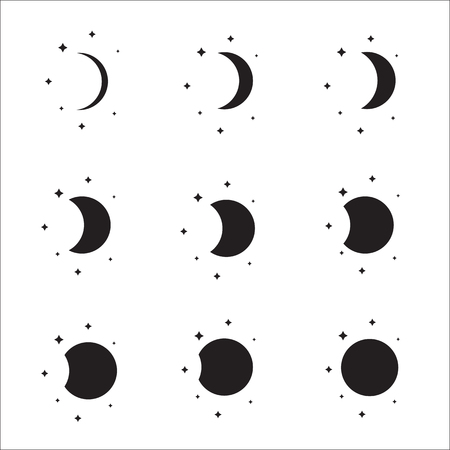 moon and stars: Moon phases silhouette set