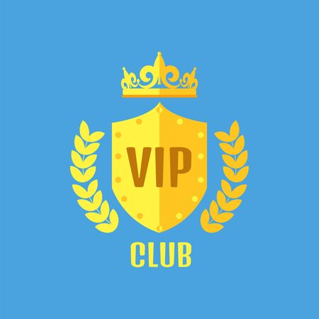 vip badge: VIP club logo in flat style Illustration