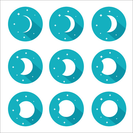 waxing gibbous: Moon phases set