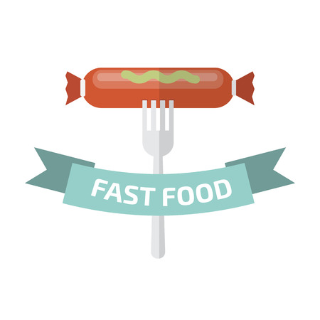 logo de comida: Logotipo de la comida r�pida. Logotipo de la comida chatarra. Vectores