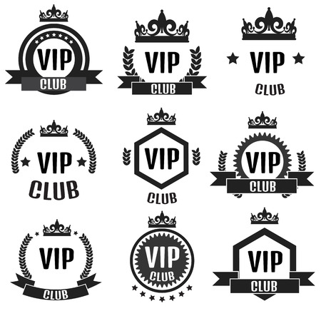 vip design: VIP club  set in flat style
