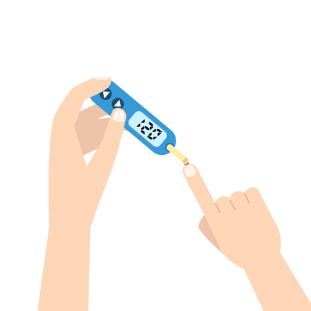 blood tests: Home glucometer with hand. Flat stle vector illustration. Illustration