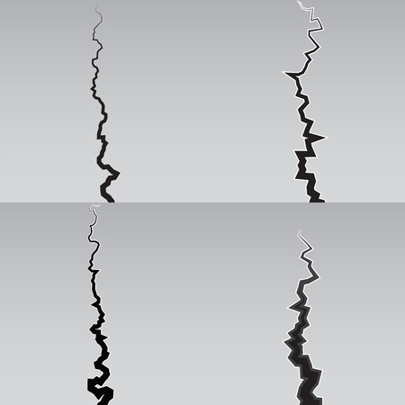 power failure: Earth Crack vector set. Crack Silhouettes Isolated set.