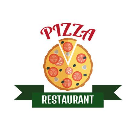 negocios comida: Logotipo de salida de la pizza. Logo Entrega r�pida. Logo pizza