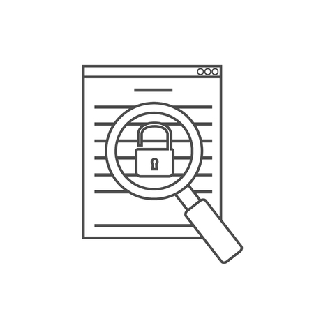vulnerability: vulnerability search icon linear Illustration