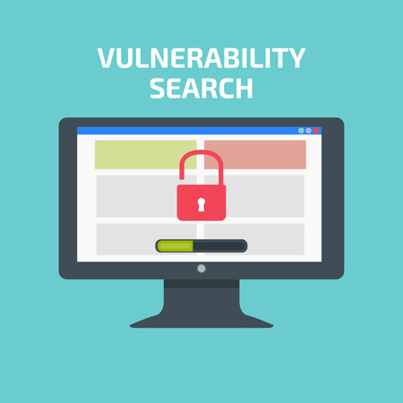 vulnerability: Vulnerability search decktop. Vulnerability search concept Illustration