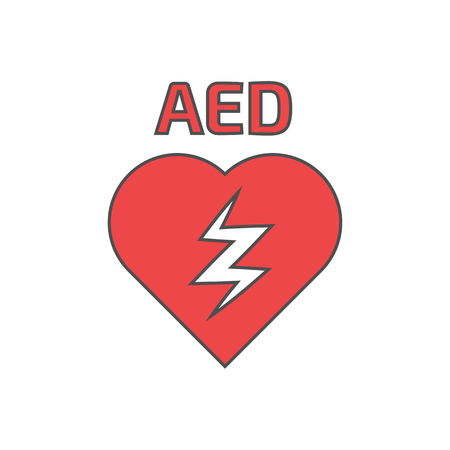 heart symbol: Defibrillator icon thin lines. Linear icon Illustration