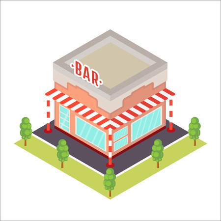 cartoon window: Vector isometric restaurant icon. Illustration