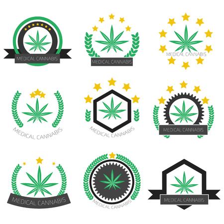marihuana: Establece Insignia m�dica del cannabis. Establece logo La marihuana medicinal. Conjunto de etiqueta de la marihuana medicinal