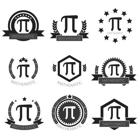shapes background: Mathematic Pi logo set. Mathematic Pi icons set