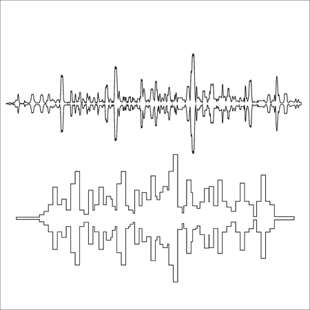 ondas sonoras: Vector sound waves thin lines