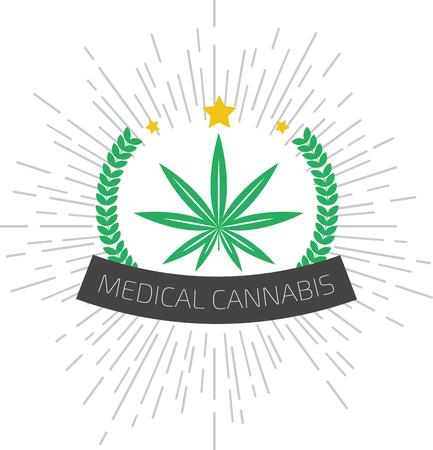 canabis: Medical cannabis logo. Medical marijuana logo. Medical marijuana label Illustration