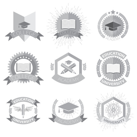 decoration style: High education logos set.