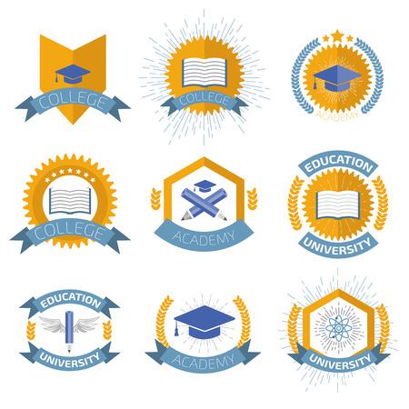 Hoge onderwijs logo's in te stellen. Stock Illustratie