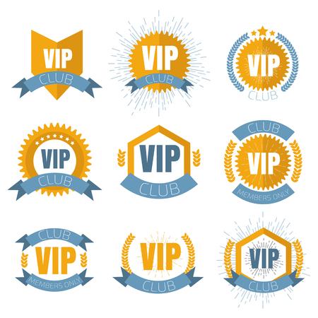 prestige: VIP club logos set in flat style