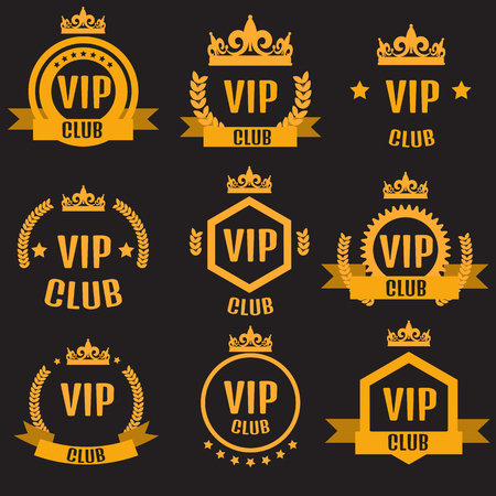 VIP club logos set in flat style