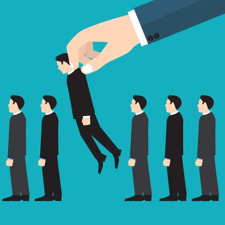 pick out: Job interview. Recruitment Hand.