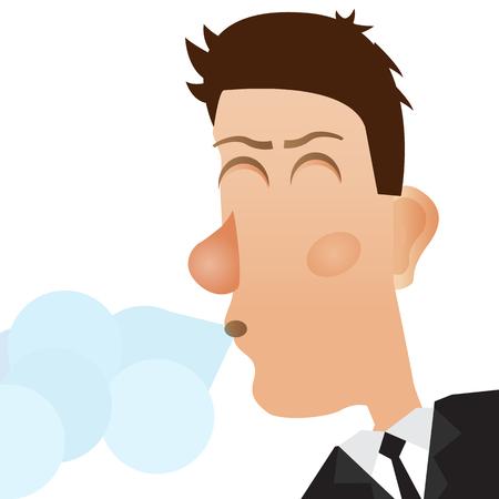 coughing: Coughing man. Man sneezes