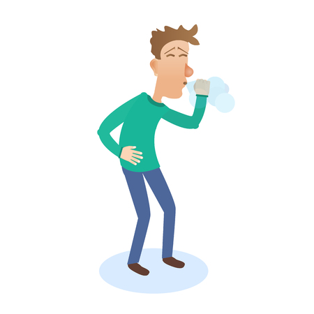 man sneezes Illustration