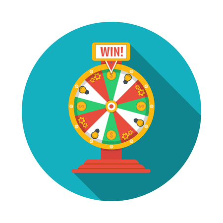 luck wheel: Wheel of fortune icon Illustration