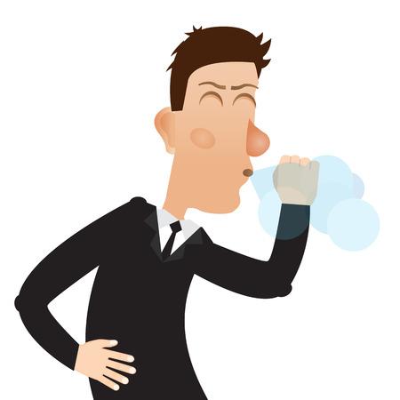 Coughing man. Man sneezes