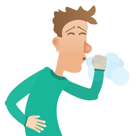 blowing nose: man sneezes Illustration