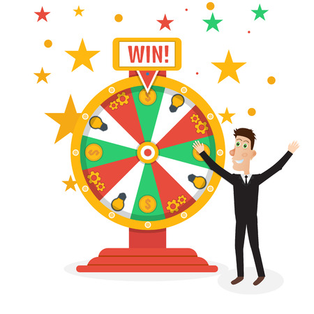 Wheel of fortune with man Ilustracja