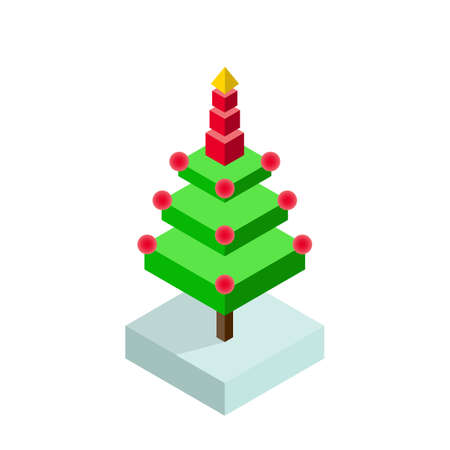 christmas icon: Isometric christmas tree icon Illustration