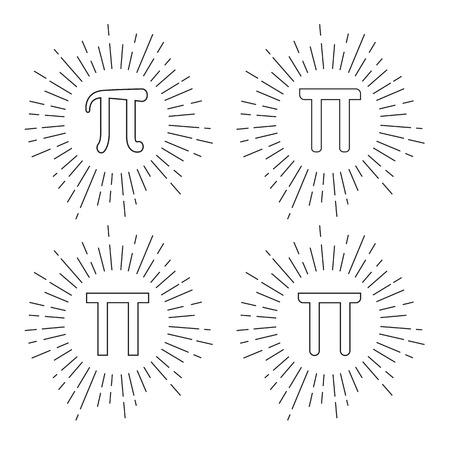 diameter: Mathematic Pi icon flat set Illustration