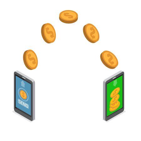 Sending and receiving money. Send money wireless . Ilustração Vetorial