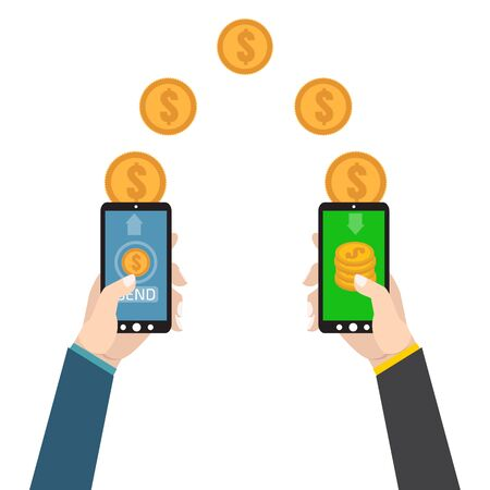 sending: Sending and receiving money. Send money wireless . Illustration