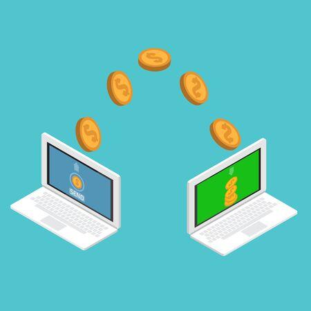 Senden und Empfangen von Geld. Senden Sie Geld wireless. Vektorgrafik