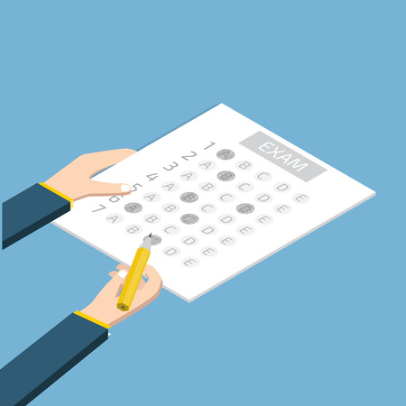 Test answer sheet concept isometric