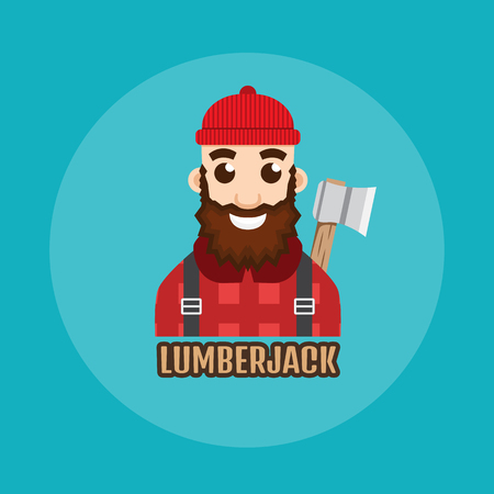 woodcutter: Lumberjack or Woodcutter logo. Illustration