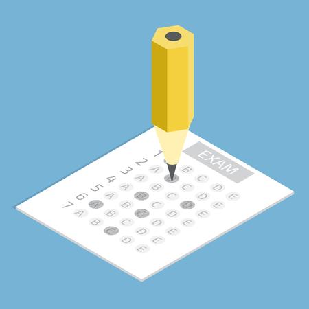 Test-Antwortbogen Konzept isometrische