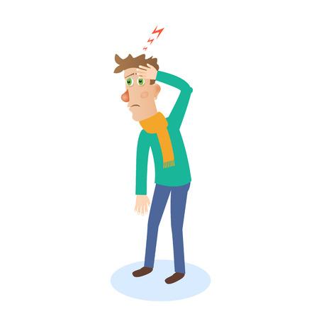 head pain: Headache attack. Head pain vector illustration Illustration