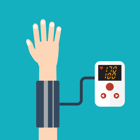 blood pressure monitor: High blood pressure concept vector Illustration
