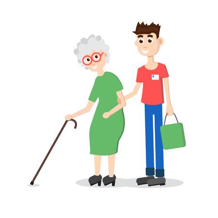boy lady: Man helping elder. Boy helps old lady. Flat style vector illustration Illustration