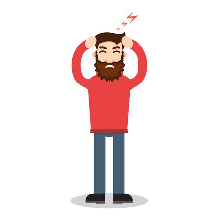 Ataque de dolor de cabeza. Ilustración de vector de dolor de cabeza Ilustración de vector