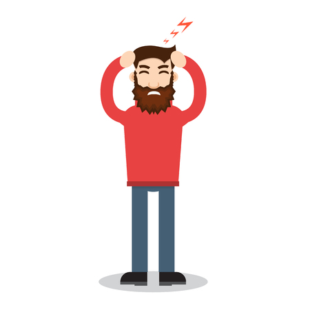 headache: Headache attack. Head pain vector illustration Illustration