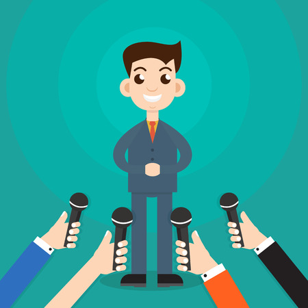 answering: Interview a businessman or politician answering questions vector illustration - stock vector