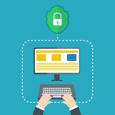 ハッカー概念に対する保護。ベクトル図