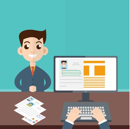 rookie: Interview a businessman vector. Employment, recruitment concept.