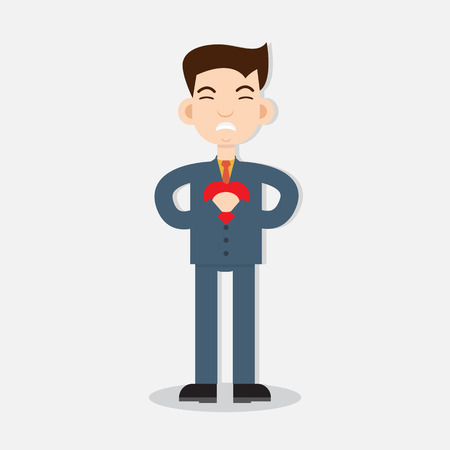sick people: Young man with strong heart attack. Vector illustration.