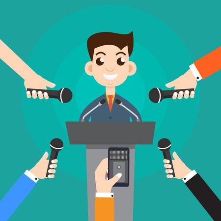 Interviewen van een zakenman of politicus het beantwoorden van vragen vector illustration - Stock Vector