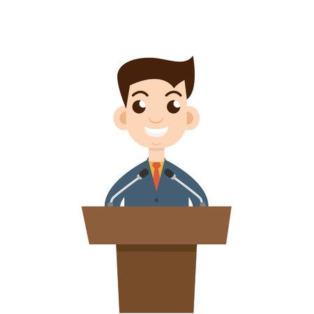 make public: Public speaking, flat design. Orator speaking.
