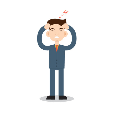 head pain: Headache attack. Head pain vector illustration Illustration