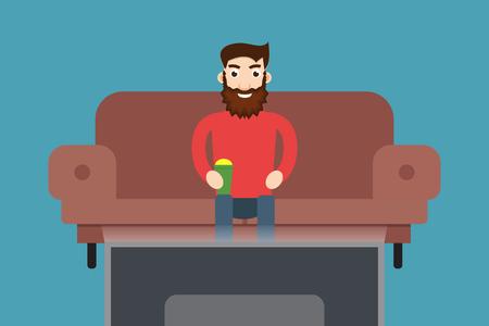 spectator: Man watching TV Illustration