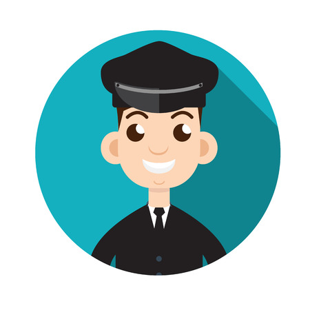 hairy male: Limo driver. Limousine driver icon. Flat style. Vector illustration Illustration