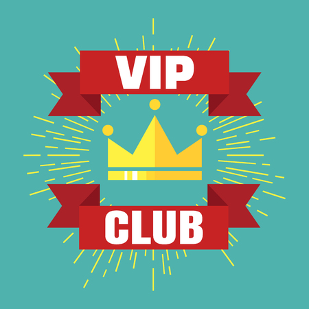 vip badge: VIP club logo in flat style. VIP Club members only banner